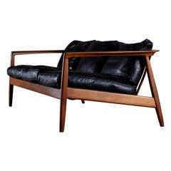 "Rare Black Leather ""Carmel"" Sofa by Folke Ohlsson, 1960s"