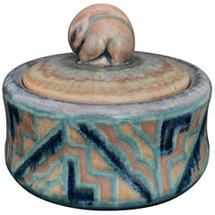 Rare Covered Art Deco Jar with Rabbit Finial by Gensoli for Sevres, Blue & Gray