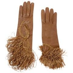 Rare Gianfranco Ferre Vintage Soft Leather Gloves w Braided & Fringe Straw