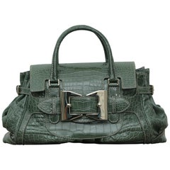 Rare Gucci Limited Edition Green Crocodile Skin Leather Weekend/Travel Bag