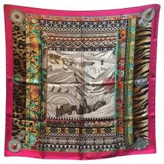 RARE Hermes La Femme Aux Semelles de Vent Silk Scarf in Pink
