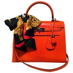 RARE Hermes Tangerine Orange Shiny Niloticus Lizard Leather Kelly 25cm Sellier