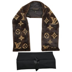 Rare Louis Vuitton Limited Edition Monogram Mink Scarf