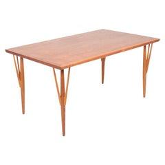 Rare Midcentury Work Table in Teak and Oak by Hans Wegner, 1950s
