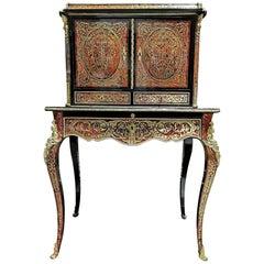 Rare Napoleon III Marquetry Secretary Desk Cabinet, France, 1860