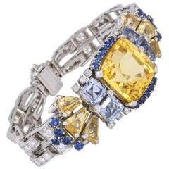 Rare Oscar Heyman Bros 41 Carat Yellow Blue Sapphire Platinum Diamond Bracelet