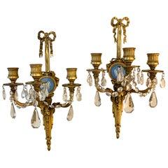 Rare Pair of Caldwell & Company Signed Wedgwood Jasperware & Doré Bronze Sconces