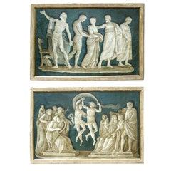 Rare Pair of Italian 18th Century Neoclassical Grisaille Panels