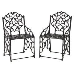 Rare Pair of JW Fiske Cast Iron Garden Chairs