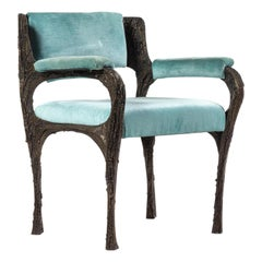 Rare Sculpted Bronze Armchair by Paul Evans for Directional
