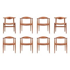 Rare Set of Eight Hans Wegner Chairs for Johannes Hansen
