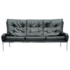 Rare Three-Seat Sofa by Roland Rainer in Black Leather, 1960s