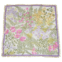 "Rare Vera Delicate ""Easter Florals"" Fringed Silk Chiffon Scarf"