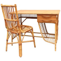 Rattan Desk / Vanity Table and Chair by Louis Sognot, circa 1950s