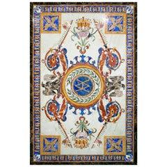 Rectangular Pietre Dure Crema Marfil Marble Mosaic Inlay Table Top