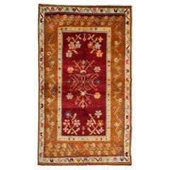 Red Antique Rug, Konya Turkish Carpet Oriental Rug, Geometric Patterned Rug