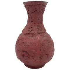 Red Cinnabar Vase with Floral Motif, 18th-19th Century