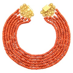 18 Karat Gold Multi-Strand Red Coral Necklace