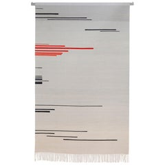 """""""Red Shift 1"""" Red and Grey Toned Handwoven Wool Rug Kilim or Tapestry"""