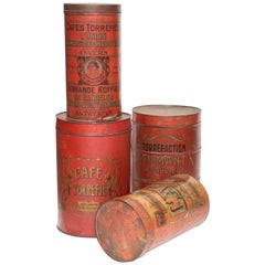 Large Red Tôle Coffee Tins from Belgium