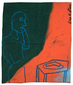 """""""Awaiting A Phone Call,"""" Oil Pastel on Grocery Bag signed by Reginald K. Gee"""