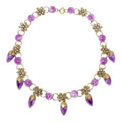 Retro Marbled Violet Dangling Crystal Flower Necklace, Gold
