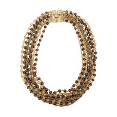 Retro Multi Strand Topaz Crystal and Chain Necklace in Gold, Late 1900s