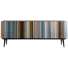 Retro Style Buffet Credenza, Barcode Design in Warm and Blue Hues Colored Glass