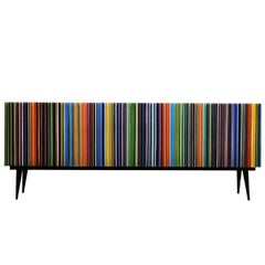 Retro Style Buffet Credenza, Barcode Design in Rainbow Colored Glass