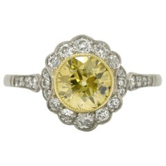 Revivalist Edwardian Yellow Diamond Engagement Ring 1.14 Ct Old Euro Solitaire