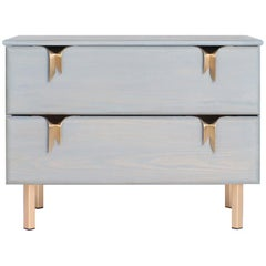Ribbon Bedside / Side Table, Gray Ashwood, Bronze Hardware by Debra Folz