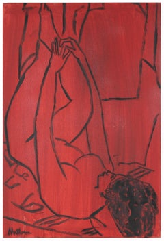 Modernist Female Nude Figure in Red, Oil Painting on Canvas, Late 20th Century