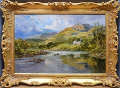 The Fish Inn, Lledr Valley - 19th Century Landscape Oil Painting River Fishing