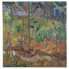 Robert Houpels 'Courtrai1877-Velle1943' Fauvistic Landscape Oil on Canvas Signed