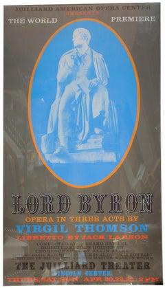 "Robert Indiana-Lord Byron-80.5"" x 40""-Serigraph-1972-Pop Art-Brown, Blue"