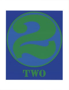 """Robert Indiana-Number Two Green and Blue-22"""" x 17""""-Serigraph-1997-Pop Art-Blue"""
