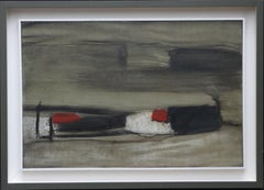 Abstract Red - British art 60's Abstract Expressionist landscape oil painting