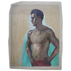 Robert Whitmore Double-Sided Oil Painting Male against Green Background