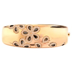 Roberto Coin Fantasia Diamond Daisy 18 Karat Wide Bangle Bracelet
