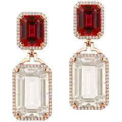 Rock Crystal and Garnet Emerald Cut Earrings with Diamonds