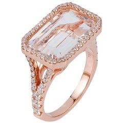 Rock Crystal Emerald Cut Diamond Set Bezel Ring