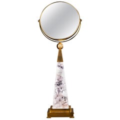 Rock Crystal Hand Mirror 24-Karat Ormolu Gilding Brass by Alexandre Vossion