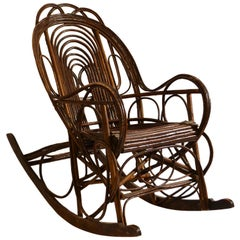 Rocking Chair in Bentwood Willow, Swedish, 1900-1920