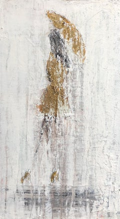 """Girl in the Rain - Gold Edition #2"" Abstract, Figurative, 21st Century, Acrylic"
