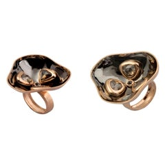 Timeless Art Contemporary Brown and Black Diamond Yellow Gold Cocktail Ring