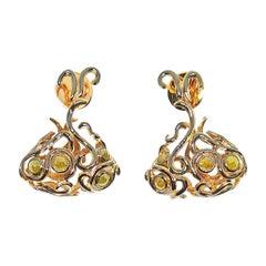 Rohit Jain One of a Kind Yellow Rose Cut Diamond 18 Karat Yellow Gold Earrings