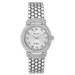 Rolex Cellini Cellissima White Gold Silver Dial Diamond Ladies Watch 6673