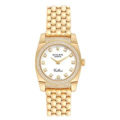 Rolex Cellini Cestello Yellow Gold Diamond Ladies Watch 6311 Box Papers