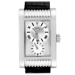 Rolex Cellini Prince White Gold Silver Dial Black Strap Men's Watch 5441
