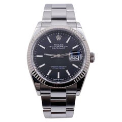 Rolex Datejust 126234 Black Dial Stainless Steel 18 Karat Bezel Box Papers
